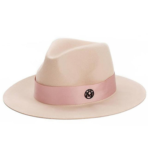 Women's Wool Hat Fedora Winter M Letter Jazz Large Brim Cowboy Panama