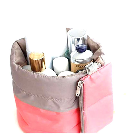 Travel Cosmetic Bag Nylon Organizer Barrel Shaped Washable