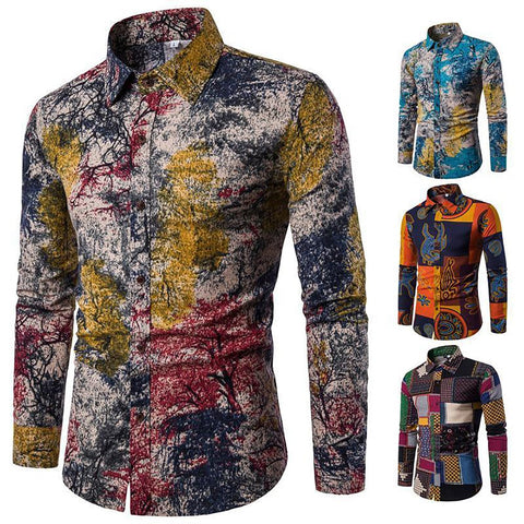 5XL Autumn New Fashion Flower Printed Long Sleeve Shirts Men Camisa Male Slim Vintage Linen Casual Men Shirt MQ647