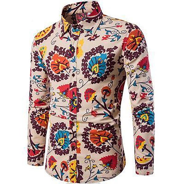 Men's Flower Printed Long Sleeve Shirt Slim Vintage Linen Casual Shirts