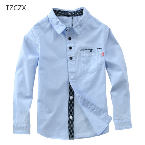 TZCZX 1pcs Hot Sale Children Boys Shirts Cotton Solid Kids Clothing For 4-12 Years Wear