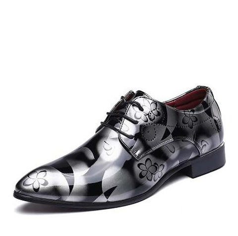 Men Dress Shoes Shadow Patent Leather Luxury Fashion Groom Wedding Oxford Shoes 38-48