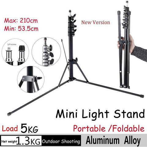 Mini Flash Lamp Stand Tripod 2.1m/6.8FT Bracket Holder Accessories Camera for Softbox Photo Video