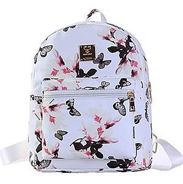 Teenager Girl's Backpack Leather Floral Small Printing for School