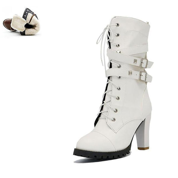 Women's Boots High Heel Plataform Buckle Zipper Rivets Lace Leather