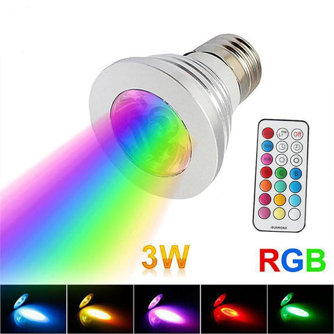 3W RGB E27 Lights Spotlight No Flicker AC Voltage 85-265 LED Lamp And Controller 16 Colors for Stage Lighting Effect User TT