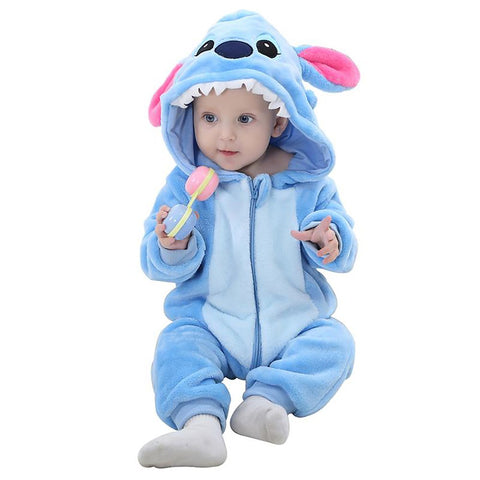 Unisex Kid's Pijama Romper Soft Flannel Animal Design Warm Hooded