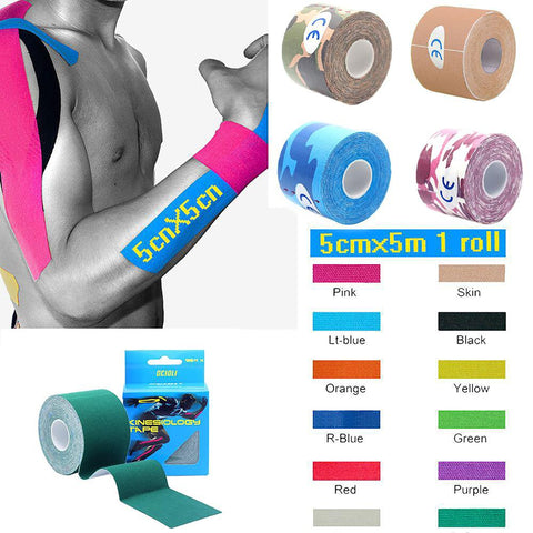 Injury Muscle Tape Roll Elastic Cotton Adhesive Sport Strain Protection First Aids Kinesiology
