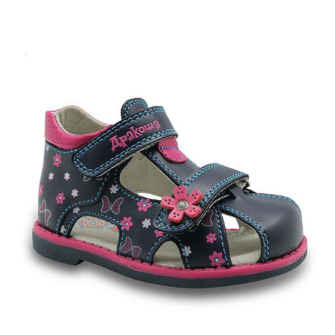 Apakowa 2017 New Summer Fashion Children Shoes Toddler Girls Sandals Kids PU Leather Butterfly with Arch Support