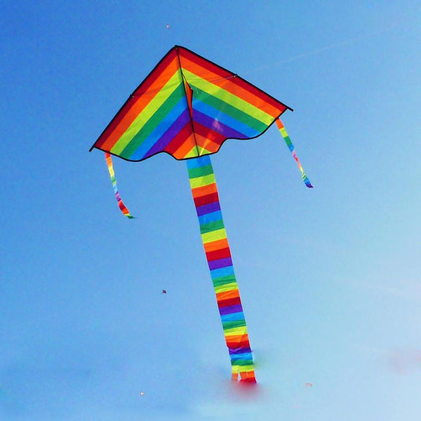 Children's Rainbow Kite Toy Long Tail Nylon Outdoor Stunt Surf without Control Bar Line
