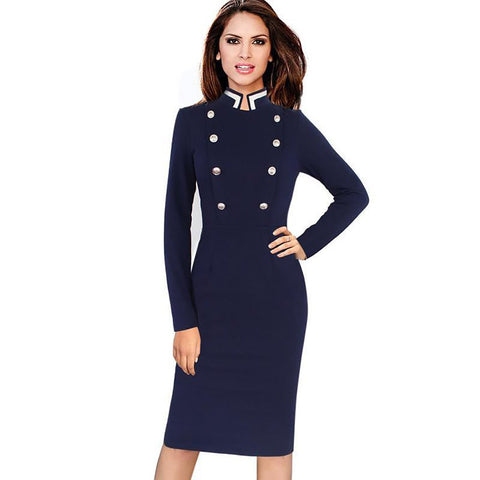 Women's Pencil Dress Long Sleeve Stand Collar Double-breasted Button Bodycon for Business Work Autumn Winter