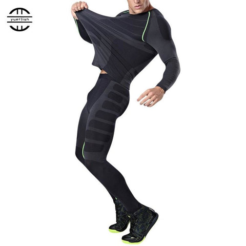 Men's Sport Suit T-shirt+Leggin Compression Fitness Gym Running