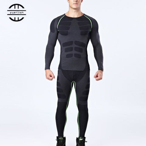 Yuerlian New Dry Fit Compression Tracksuit Fitness Tight Running Set T-shirt Legging Men's Sportswear Demix Black Gym Sport Suit