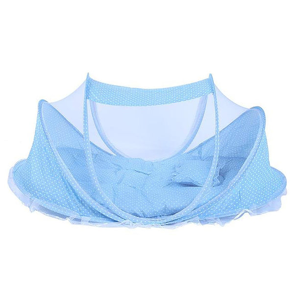 3Pcs/Set Folding Baby Netting Bed Sleep Cushion with Pillow Portable Crib Collapsible Anti-Mosquito Insect