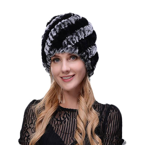 Women's Knitted Hat Rex Rabbit Fur Floral Winter