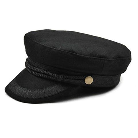 Women's Military Hat Flat Top Winter Knitted