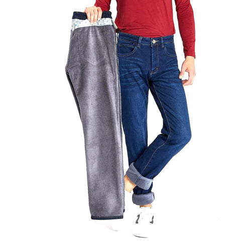 Drizzte Mens Winter Fleece Jeans Flannel Lined Stretch Denim Slim Fit Trousers Pants 33 34 35 36 38 40 42 Men's