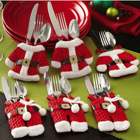 Houspace 6 Pcs Christmas Xmas New Year Santa Silverware Holders Decorations Pockets Dinner Decor 3 Clothes And Pants