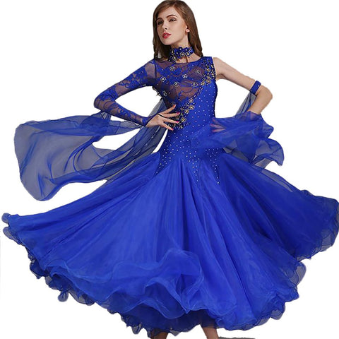 Women's Dance Dress Sequins Standard Competition Ballroom Waltz Foxtrot
