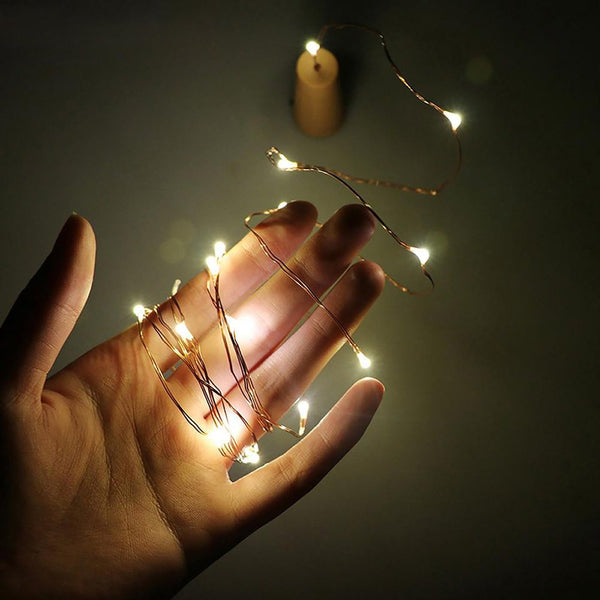 2m 20-LED Copper Wire String Light with Bottle Stopper for Glass Craft Fairy Valentines Wedding Decoration Lamp Party