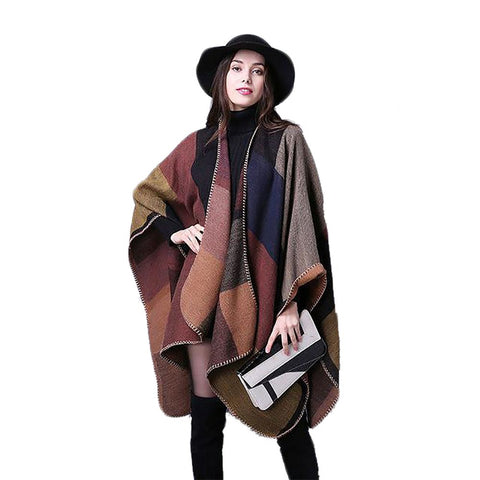 Women's Winter Poncho Vintage Knit Cashmere Blanket