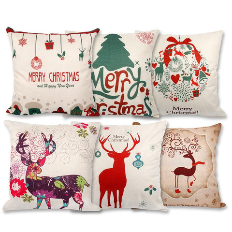 Pillow Case Christmas Decorations For Home Santa Clause Deer Cotton Linen 45*45cm