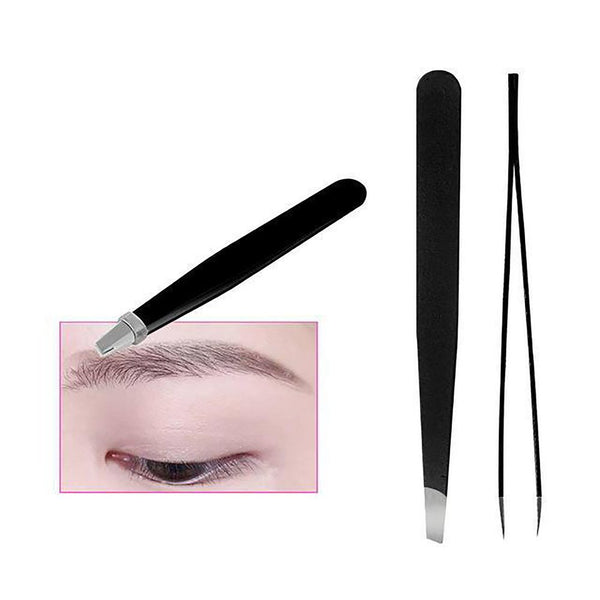 1PC 2017 Black Color Eyebrow Tweezer Hair Beauty Slanted Puller Stainless Steel Eye Brow Clips Makeup Tool Brand New