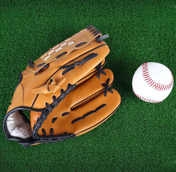 "PVC Leather Brown Baseball Glove 10.5""/11.5""/12.5"" Softball Outdoor Team Sports Left Hand Practice Equipment"