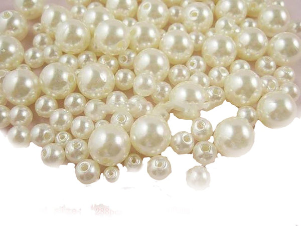 Round Imitation Pearl Beads with Hole Multi Option ABS for DIY Art Craft Garment 4/6/8/10mm