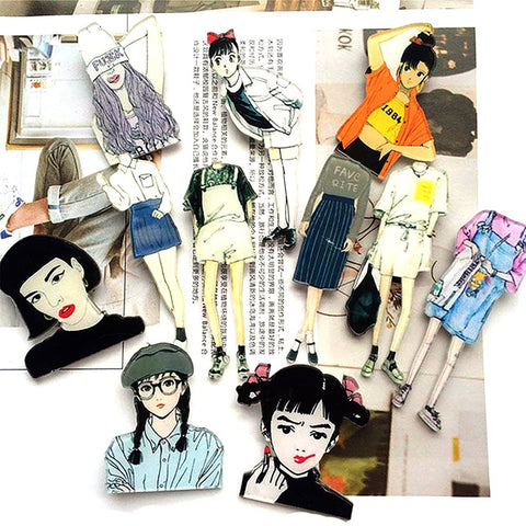 1 PCCartoon Acrylic Badge Girls Shaped Decoration Pins Badges Broochs
