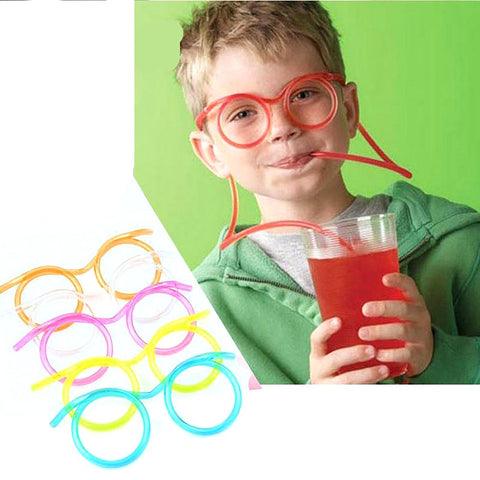 Kid's Plastic Glasses Straw Soft Plastic Flexible Drinking Toy Party Joke