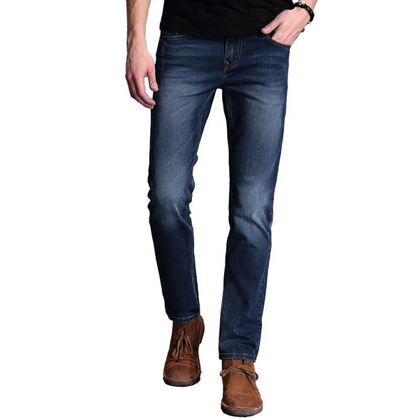 2016Exclusive Men Softener Deep Blue Jeans Homme Slim Elastic Factory Skinny Brand Mens Designer Pants
