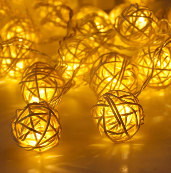 Rattan Ball LED String Fairy Lights 20 pcs/set Warm Light Ornament