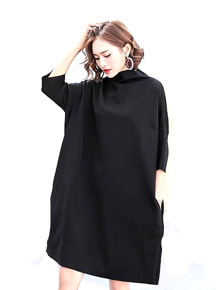 09d87289ff0f7 Women s Korean Dress Solid Color Sleeve Loose Batwing Autumn Large Siz –  Watch Whole