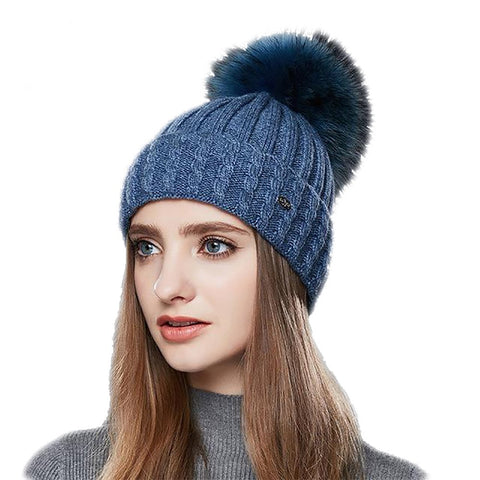 Women's Wool Hat Real Raccoon Fur Pompom Thick Warm Autumn Winter