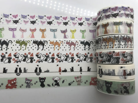 1.5cm*10m Hallowmas Cat Washi Tape Halloween Washi Tape Cat Masking Adhesive Kawaii Stationery
