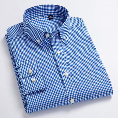 New Arrival Men's Oxford Wash And Wear Plaid Shirts 100% Cotton Casual High Quality Fashion Design Dress