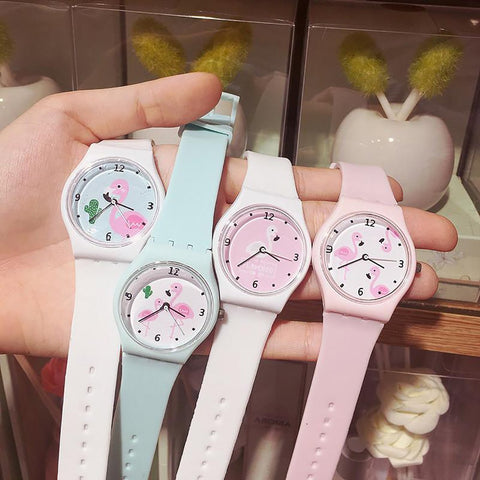 New Silicone Candy Jelly Color Student Watch Girls Clock Fashion Flamingo Watches Children Wristwatch Cartoon Kids Quartz