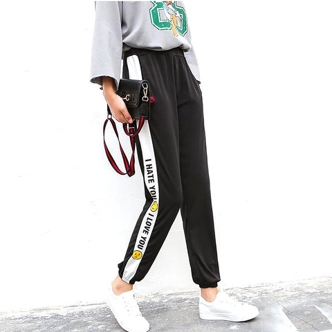 Women's Harajuku Harem Pants Striped Smiley Straight Trousers