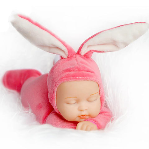 25CM Rabbit Plush Stuffed Baby Doll Simulated Babies Sleeping Dolls Children Toys Birthday Gift For 5 Colors Doll Reborn