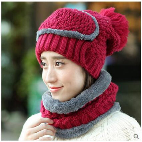 Unsex Adult's Winter Hat with Mask Wool Knitted Thickening Warm Bike