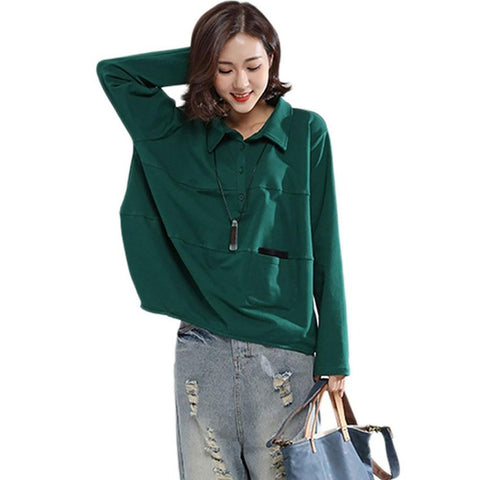 Women's Casual Blouse Autumn Solid Basic Show Thin Loose Pockets Plus Size