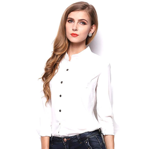 XZreal Slim Office Lady Shirt Women White Chiffon Blouse Casual Long Sleeve Bodycon Blusas Femininas Business Wear Tops Z3D296