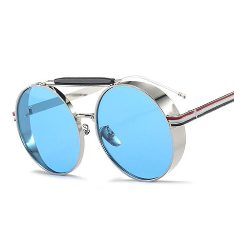 Unisex Adult's Round Glasses Oversize Thick Metal Frame Retro Double Bridges UV400