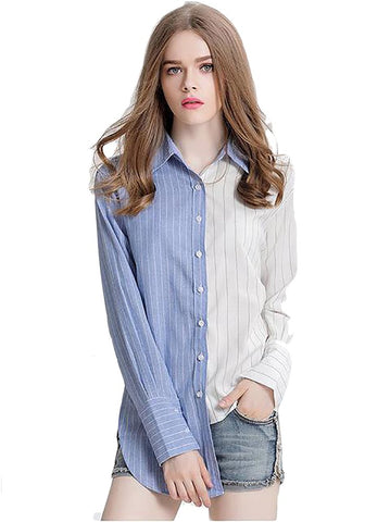 Women's Casual Blouse Long Sleeve Striped