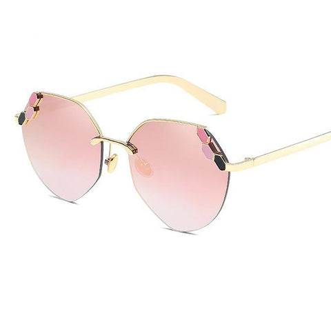 Women's Sunglasses Round Flower Mirror Vintage Designer