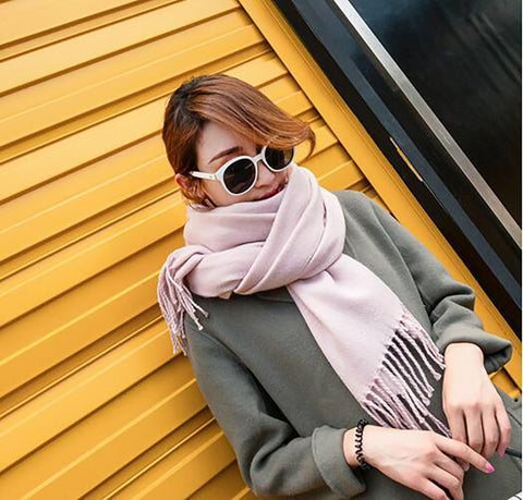 Women's Long Scarf Pineapple Embroidery Imitation Wool Thick Warm Tassel Wraps