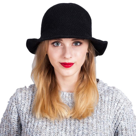 Women's Bucket Hat Wool Winter Blending Foldable Casual Knitted Fisherman Style