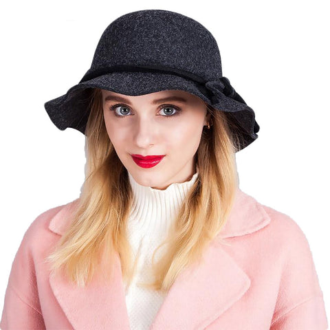 Women's Hat Autumn Winter England Retro Cloche Warm