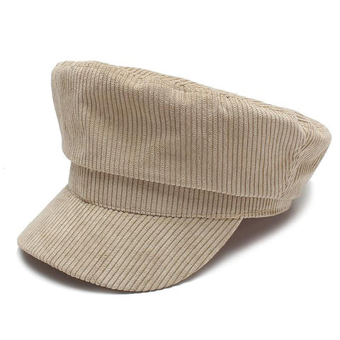 Women's Flat Cap Solid Color Military Autumn Winter Vintage Corduroy